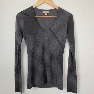 Burberry Brit wool cashmere gray plaid sweater sm